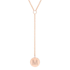 14k pave initial disc lariat necklace