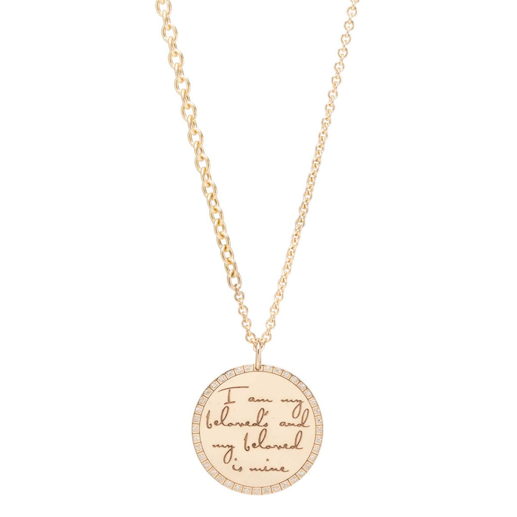 Zoë Chicco 14kt Yellow Gold Large Engraved Disc Necklace with Pave Halo