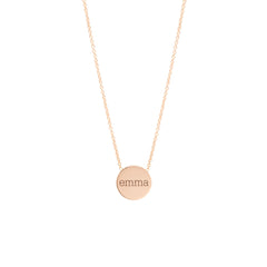 14k personalized small disc necklace