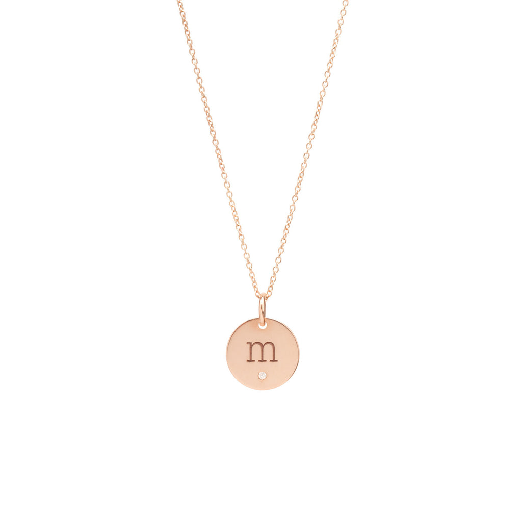 14k medium initial disc with diamond necklace