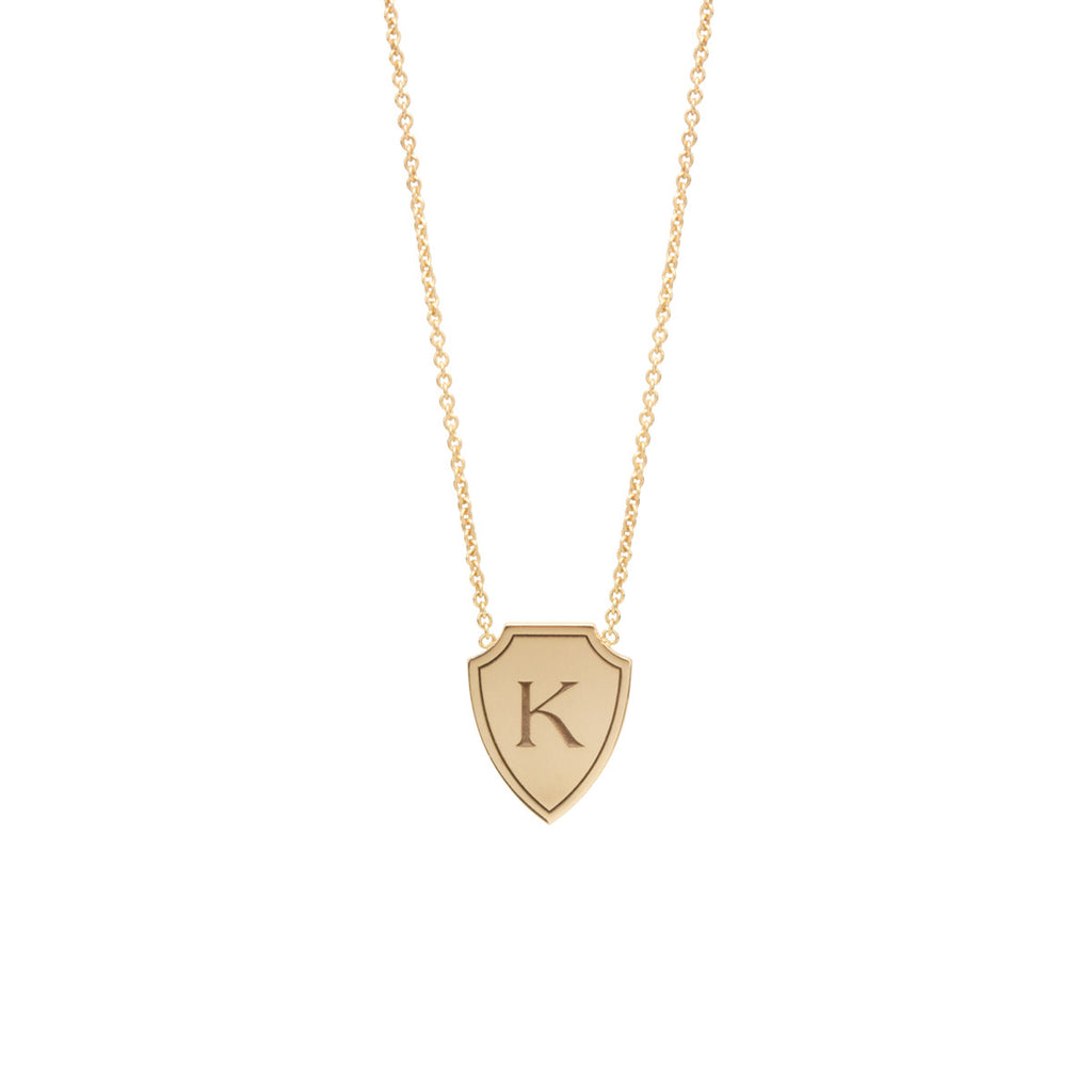 14k initial shield necklace