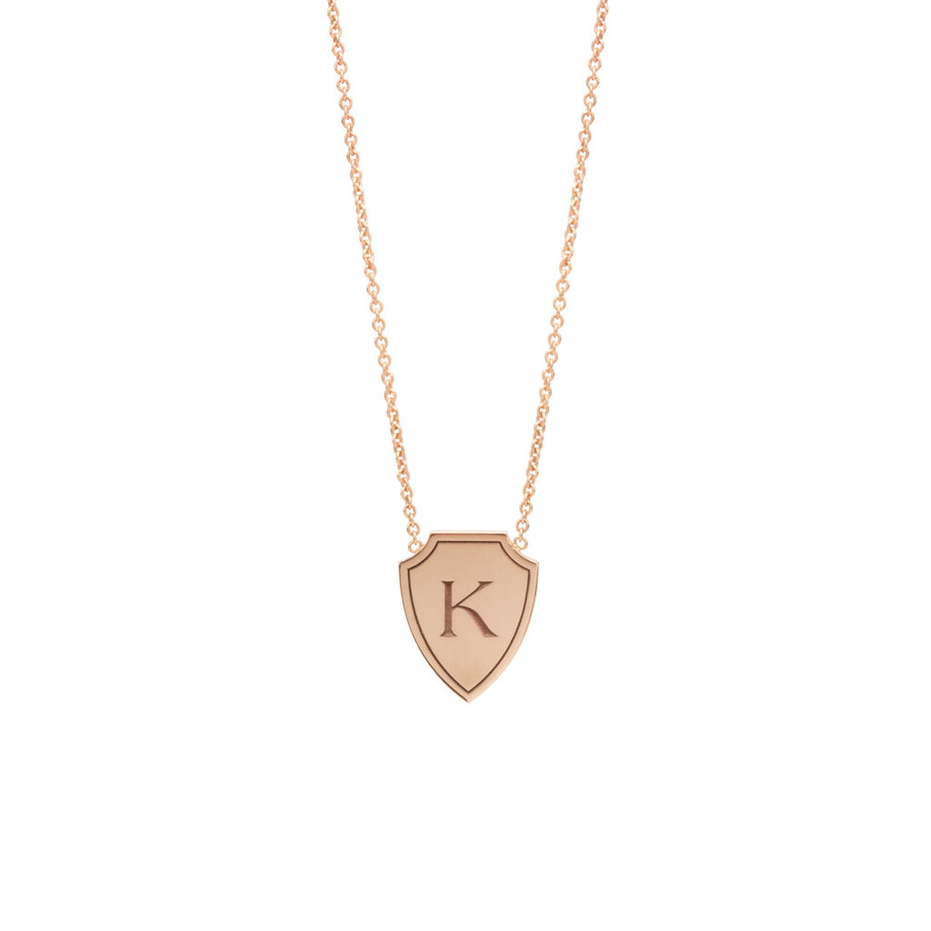Zoë Chicco 14kt Yellow Gold Initial Shield Necklace