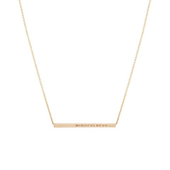 Zoë Chicco 14kt Yellow Gold Engraved Thin ID Necklace with White Diamond