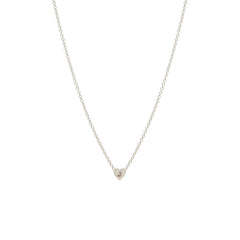 Zoë Chicco 14kt White Gold Initial Heart Necklace