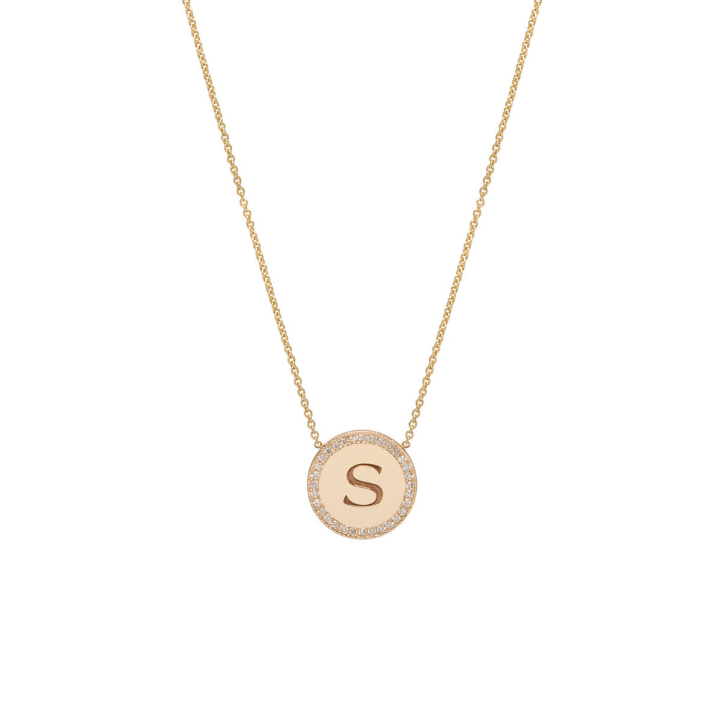 14k engraved disc necklace with pave halo