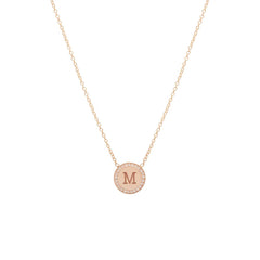 14k small engraved disc necklace with pave halo