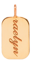 14k engraveable rectangle disc charm pendant