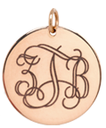 14k medium monogram disc charm pendant