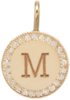 14k small engraved disc with pave halo charm pendant