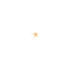 14k tiny initial star stud