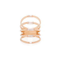 Zoë Chicco 14kt Rose Gold White Baguette Diamond 5 Band Ring