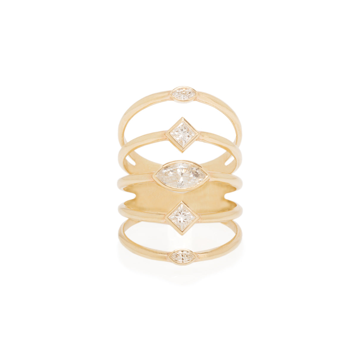 14k marquis and princess diamond five band ring