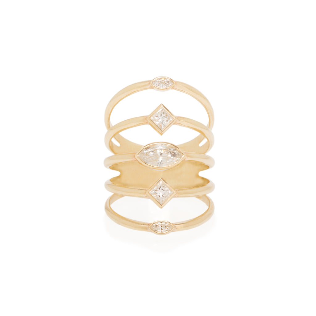 14k marquis and princess diamond 5 band ring