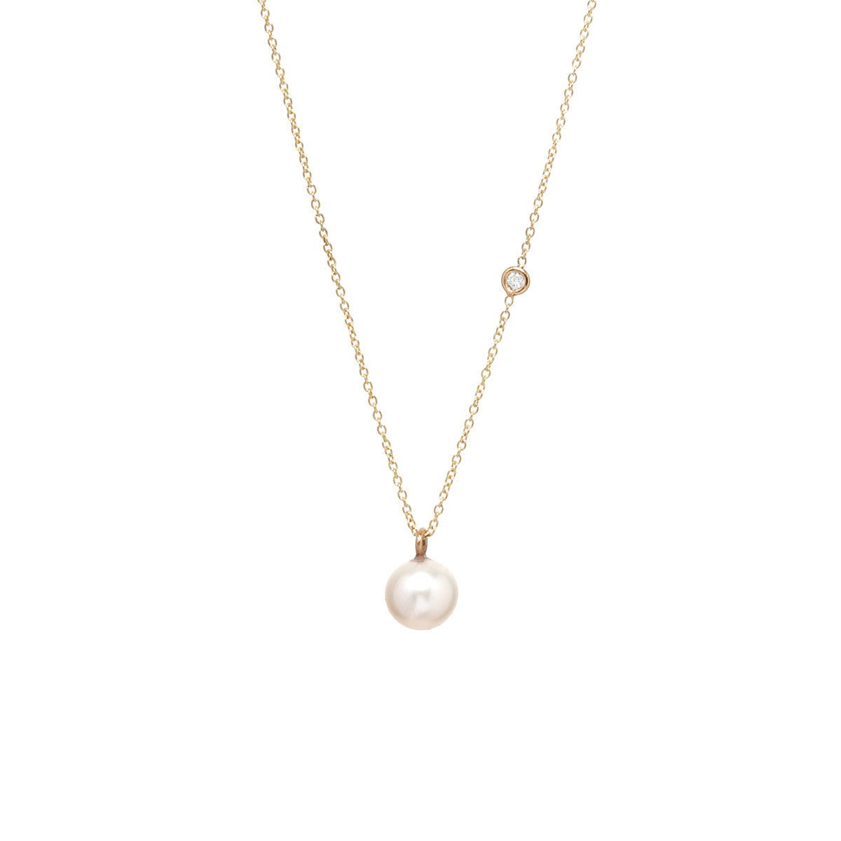 Zoë Chicco 14kt Yellow Gold Large Pearl and Diamond Necklace