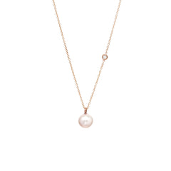 Zoë Chicco 14kt Rose Gold Large Pearl and Diamond Necklace