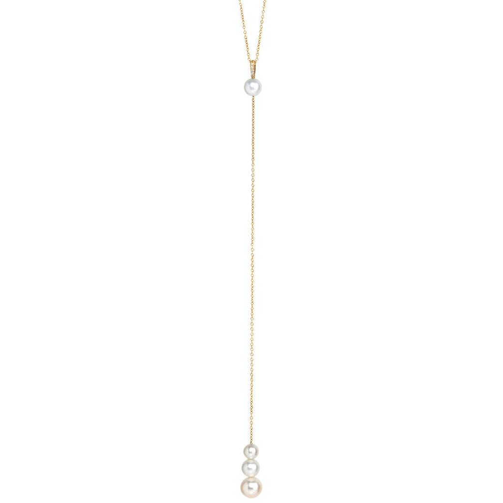 14k diamond bail pearl lariat necklace