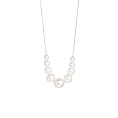 Zoë Chicco 14kt White Gold Graduated White Pearl Necklace