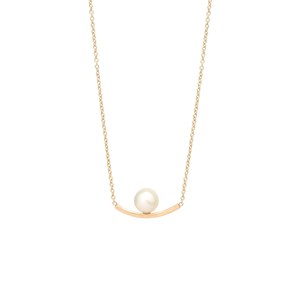 14k curved bar and pearl necklace