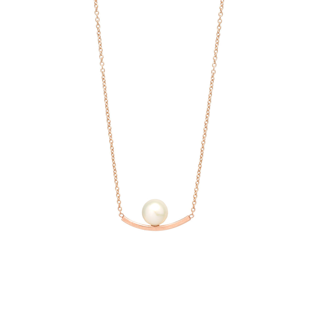 Zoë Chicco 14kt Yellow Gold Curved Bar and Pearl Necklace