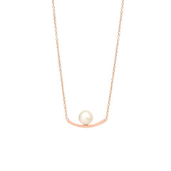 Zoë Chicco 14kt Rose Gold Curved Bar and Pearl Necklace