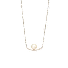 Zoë Chicco 14kt White Gold Curved Bar and Pearl Necklace