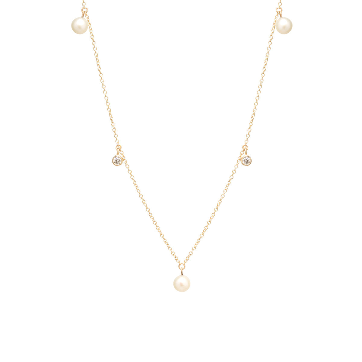 14k pearl and diamond dangle necklace