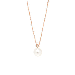 14k pearl and princess diamond necklace