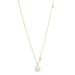 14k pearl and dangling diamond necklace