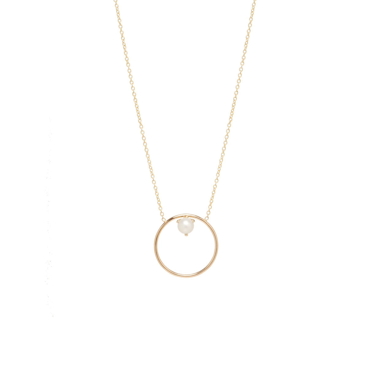 14k floating pearl medium circle necklace