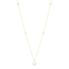 14k pearl and floating diamond necklace