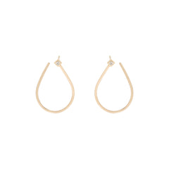 14k medium front facing tear drop princess diamond hoops