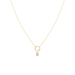 Zoë Chicco 14kt Yellow Gold Dangling Diamond Pave Tear Circle Necklace
