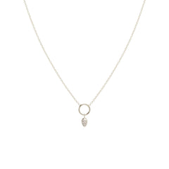 Zoë Chicco 14kt White Gold Dangling Diamond Pave Tear Circle Necklace