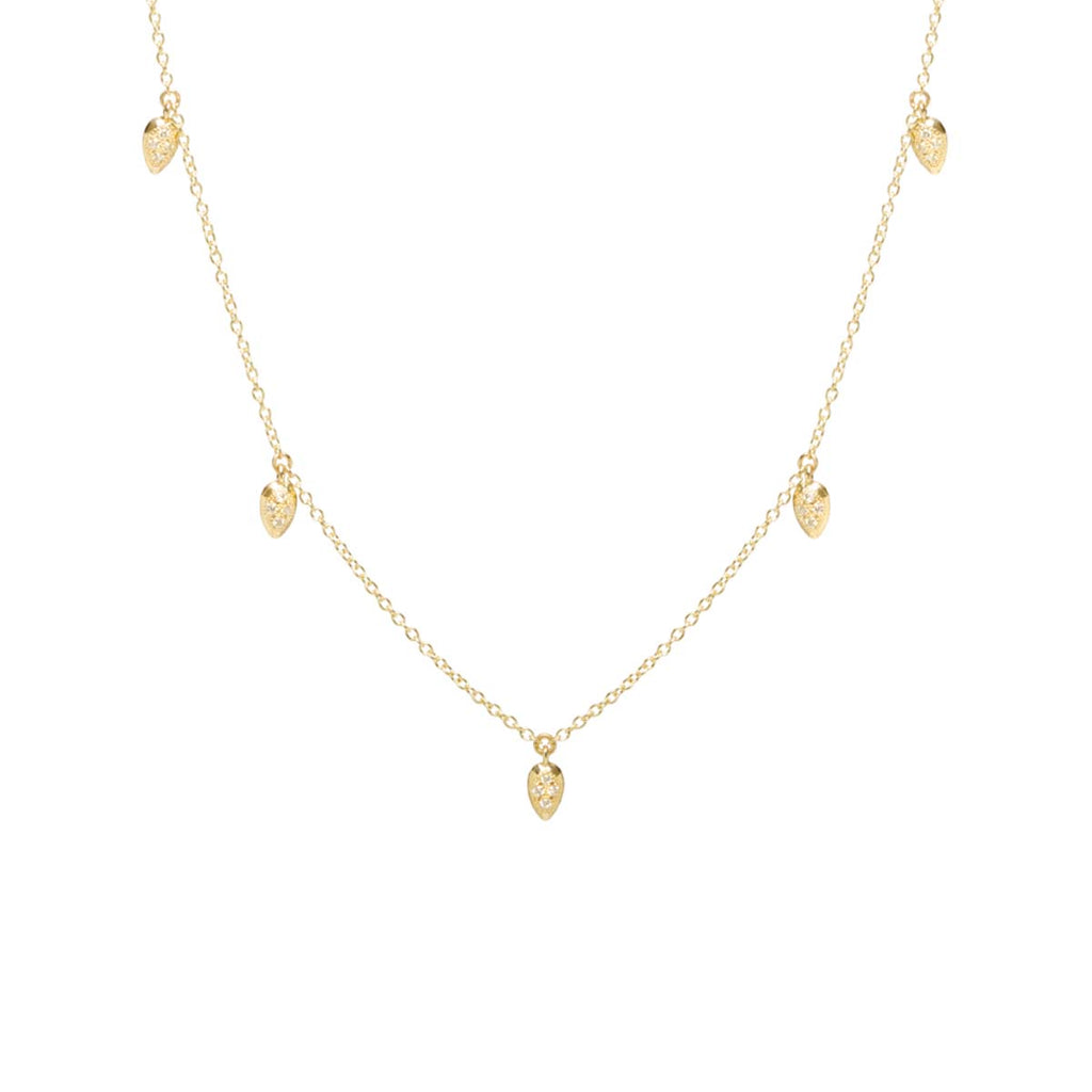 Zoë Chicco 14kt Yellow Gold 5 Dangling White Diamond Pave Pear Choker Necklace