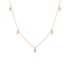Zoë Chicco 14kt Rose Gold 5 Dangling White Diamond Pave Pear Choker Necklace