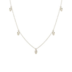 Zoë Chicco 14kt White Gold 5 Dangling White Diamond Pave Pear Choker Necklace