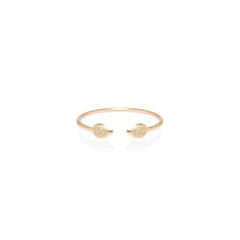 14k open pave diamond tear ring