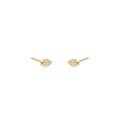 14k pave diamond tear studs