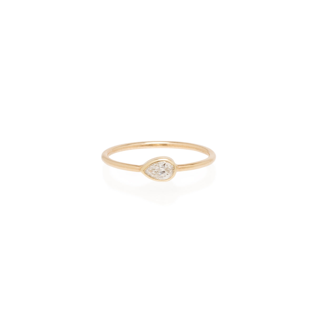 Zoë Chicco 14kt Yellow Gold Horizontal Pear Shaped Diamond Ring