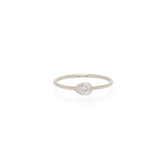 14k horizontal pear shaped diamond ring