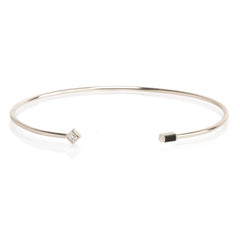 14k mixed white and black diamond open cuff bracelet