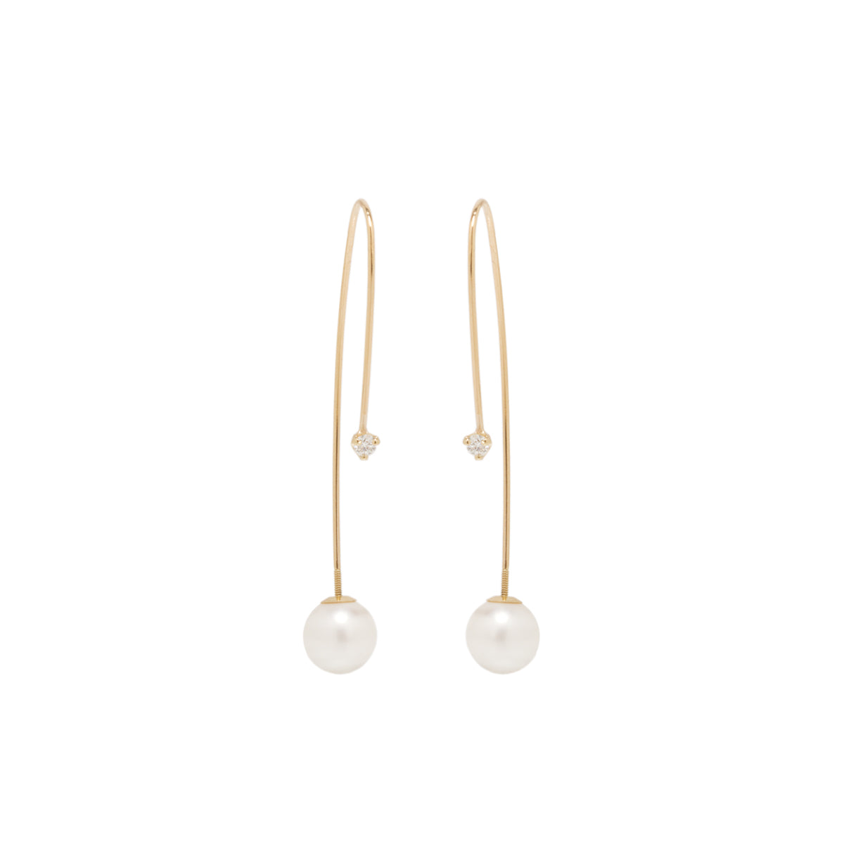 14k diamond and pearl screw back threaders