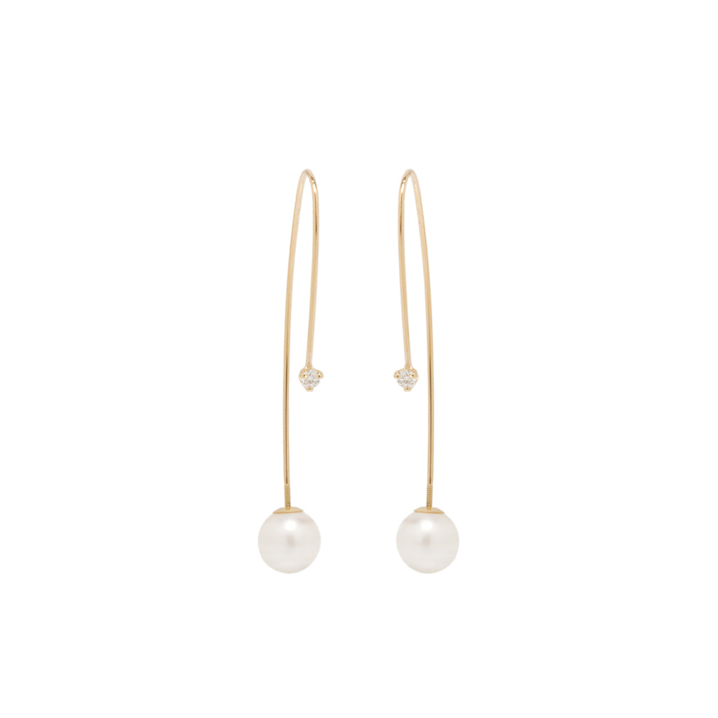 Zoë Chicco 14kt Gold Diamond and Pearl Screw Back Threader Earrings