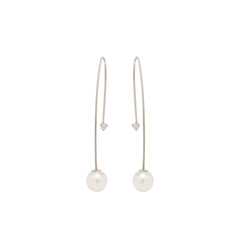 Zoë Chicco 14kt White Gold Diamond and Pearl Screw Back Threader Earrings