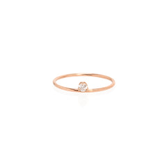 14k floating diamond prong ring
