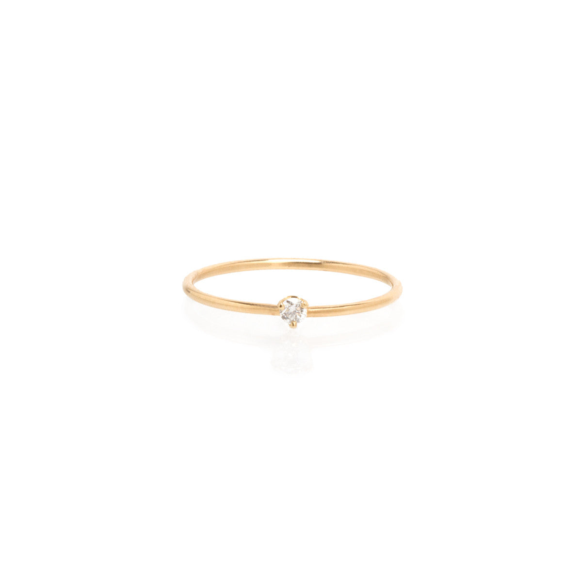 14k single small diamond prong ring