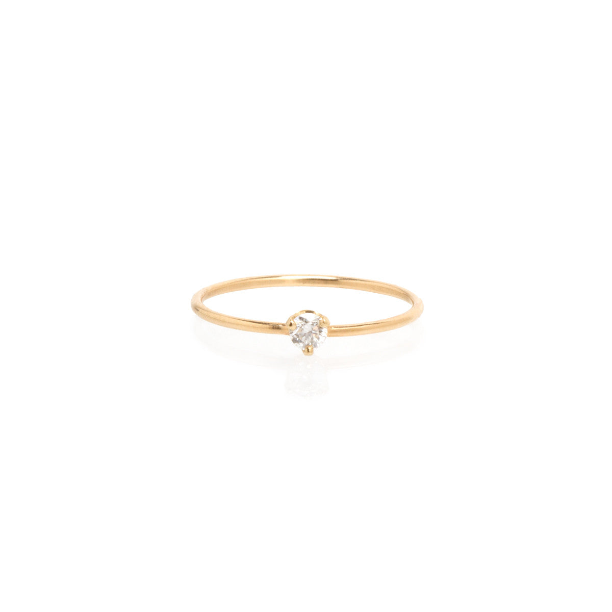14k single diamond prong ring