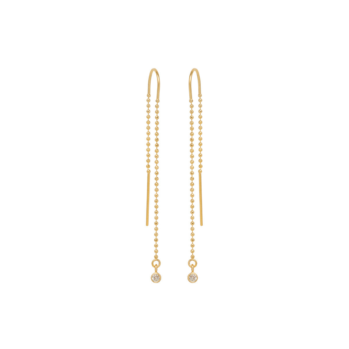 Zoë Chicco 14kt Yellow Gold Bezel Set White Diamond Bead Chain Threader Earrings