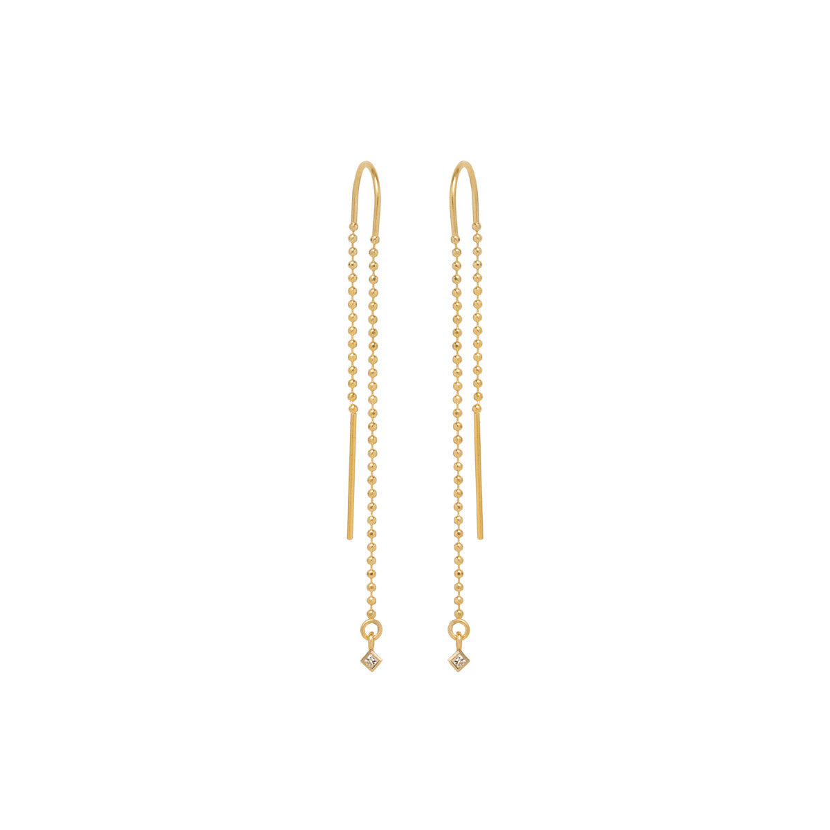 14k princess diamond bead chain threaders
