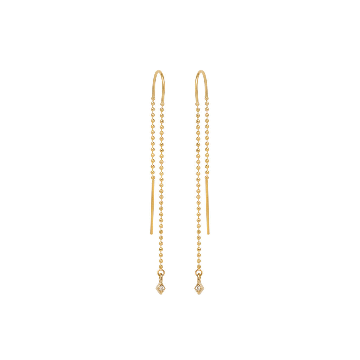 14k diamond kite bead chain threaders